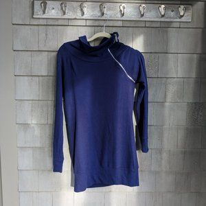 ModCloth Blue Sweatshirt Material Fitted Tunic